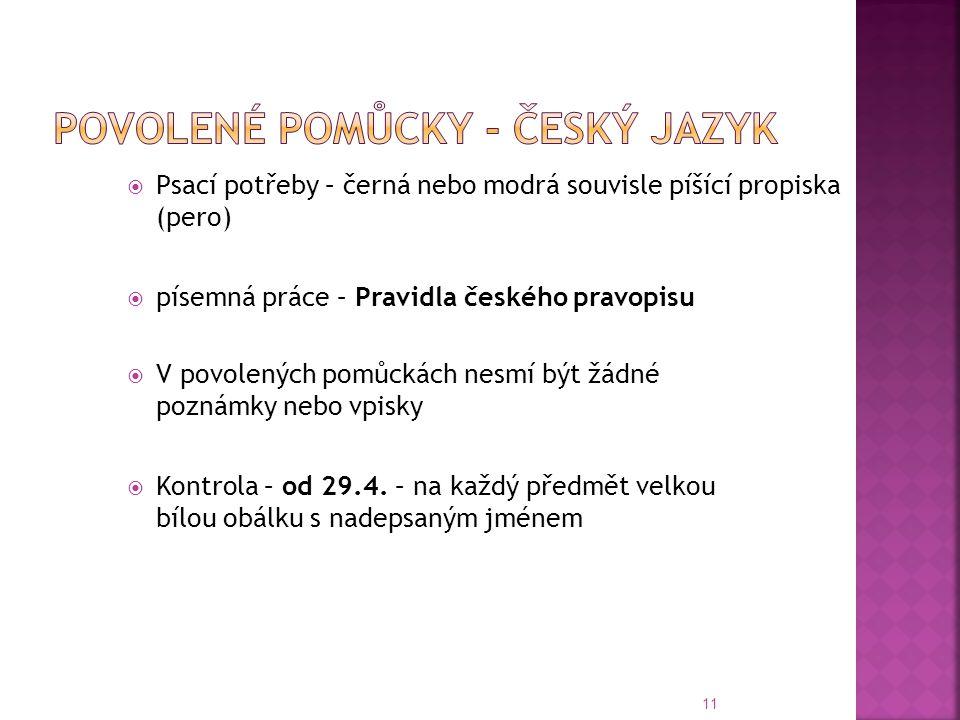 Povolené pomůcky - Český jazyk