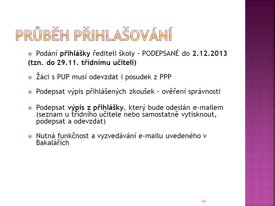 Průběh přihlašování Podání přihlášky řediteli školy – PODEPSANÉ do 2.12.2013. (tzn. do 29.11. třídnímu učiteli)