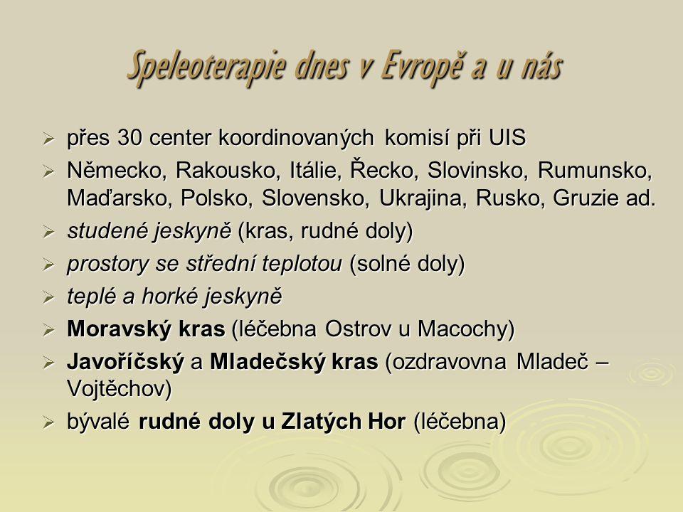 Speleoterapie dnes v Evropě a u nás