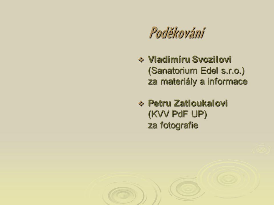 Poděkování Vladimíru Svozilovi (Sanatorium Edel s.r.o.) za materiály a informace.