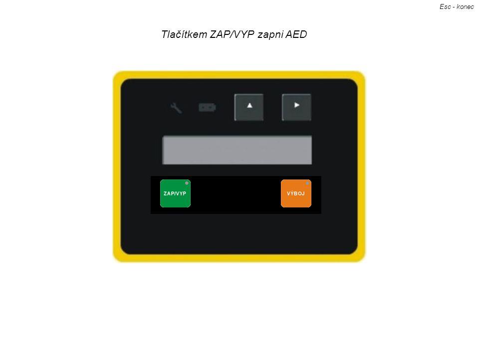 Tlačítkem ZAP/VYP zapni AED