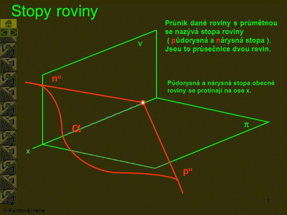 Stopy roviny Průnik dané roviny s průmětnou se nazývá stopa roviny. ( půdorysná a nárysná stopa ). Jsou to průsečnice dvou rovin.