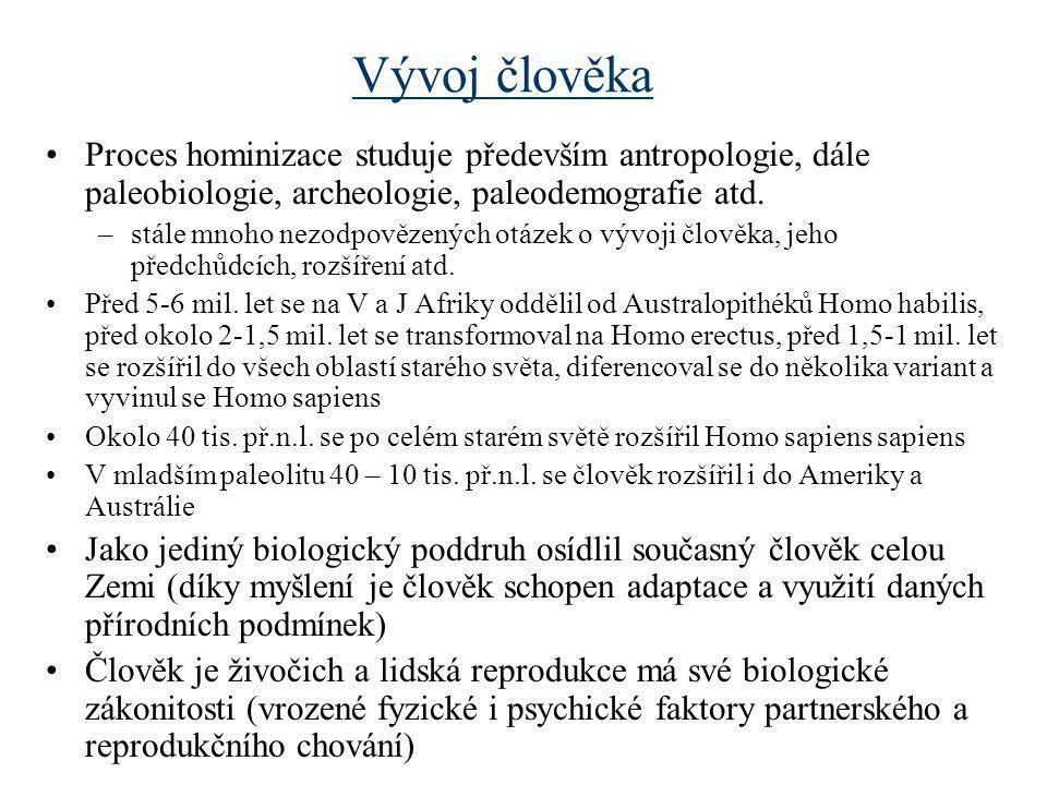 Vývoj člověka Proces hominizace studuje především antropologie, dále paleobiologie, archeologie, paleodemografie atd.