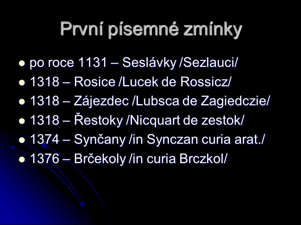 První písemné zmínky po roce 1131 – Seslávky /Sezlauci/