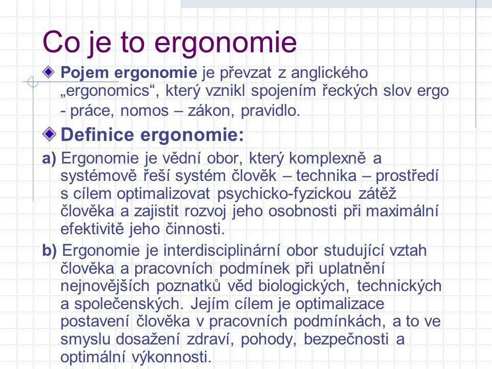Co je to ergonomie Definice ergonomie: