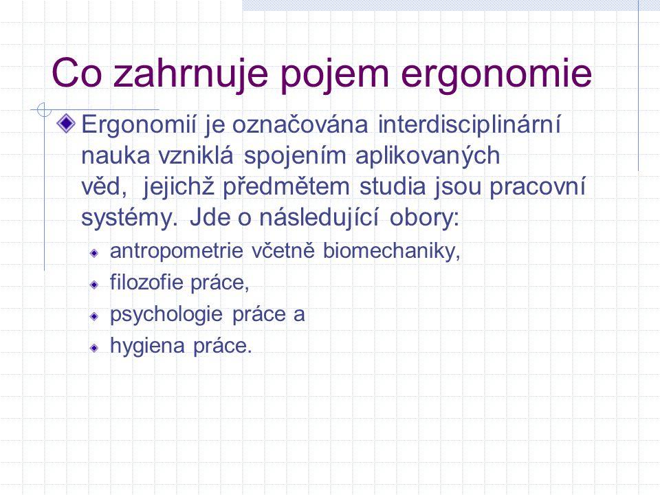 Co zahrnuje pojem ergonomie