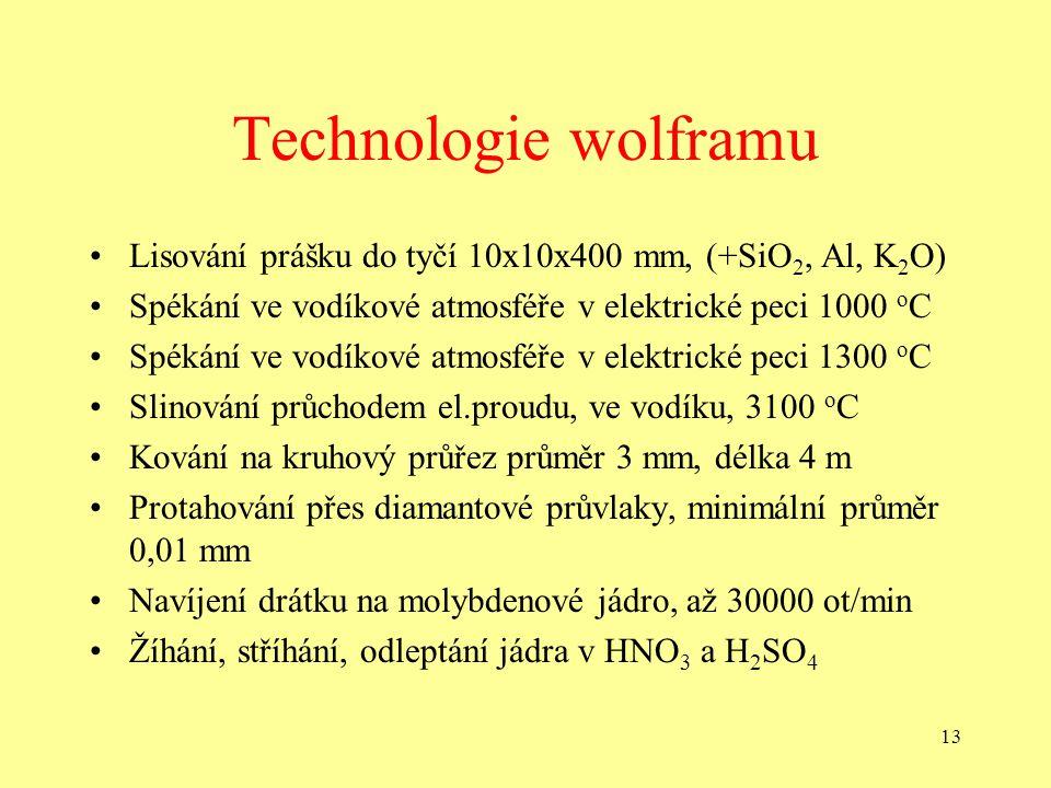 Technologie wolframu Lisování prášku do tyčí 10x10x400 mm, (+SiO2, Al, K2O) Spékání ve vodíkové atmosféře v elektrické peci 1000 oC.