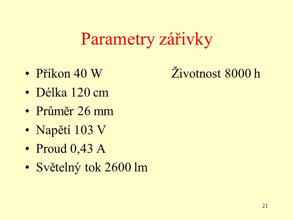 Parametry zářivky Příkon 40 W Životnost 8000 h Délka 120 cm