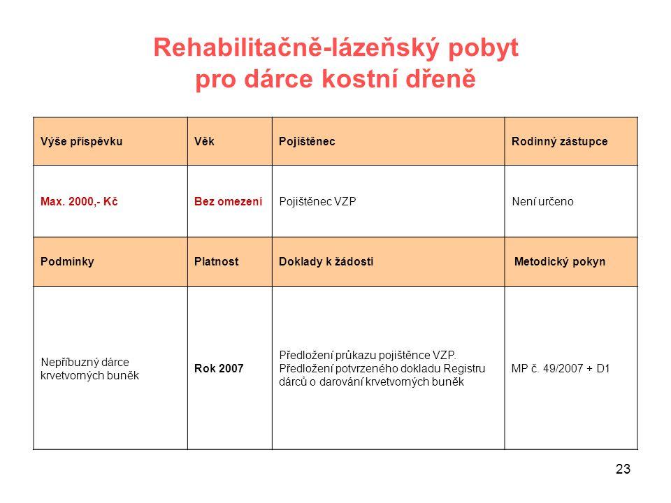 Rehabilitačně-lázeňský pobyt pro dárce kostní dřeně