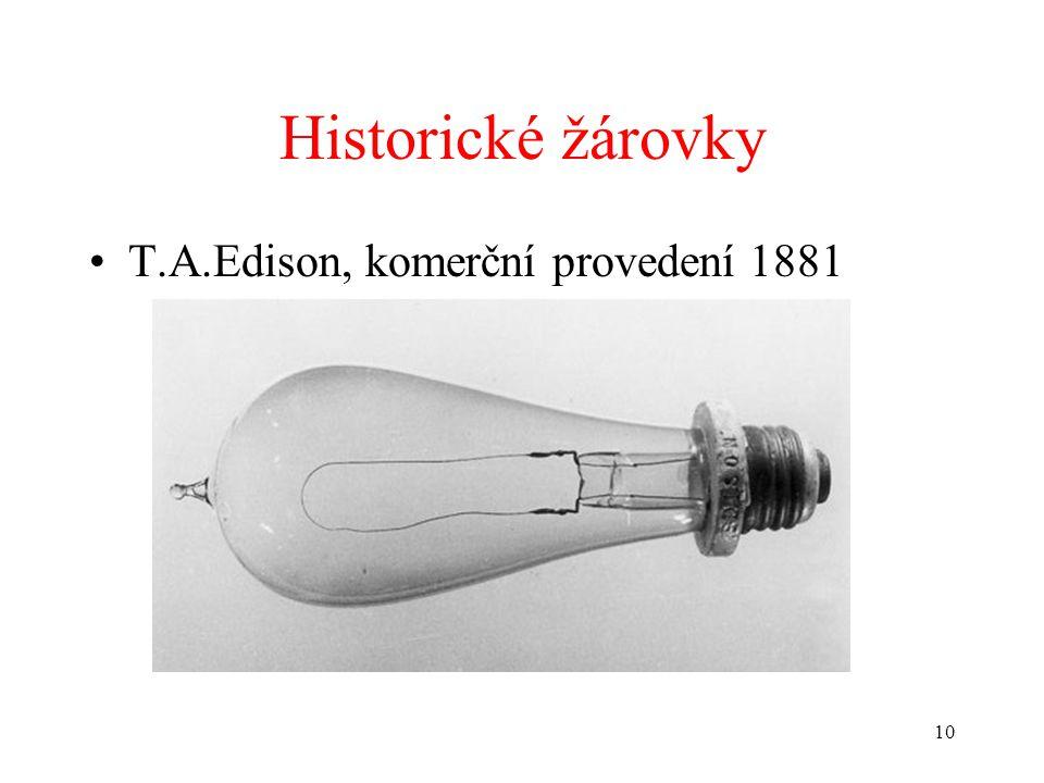 Historické žárovky T.A.Edison, komerční provedení 1881