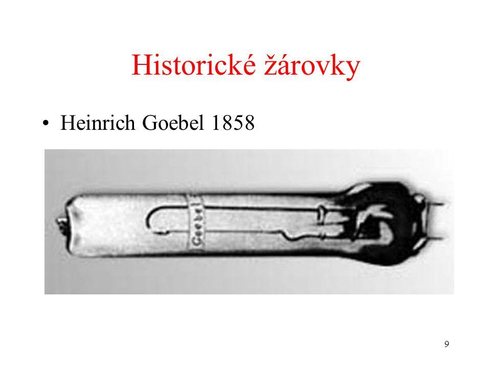 Historické žárovky Heinrich Goebel 1858