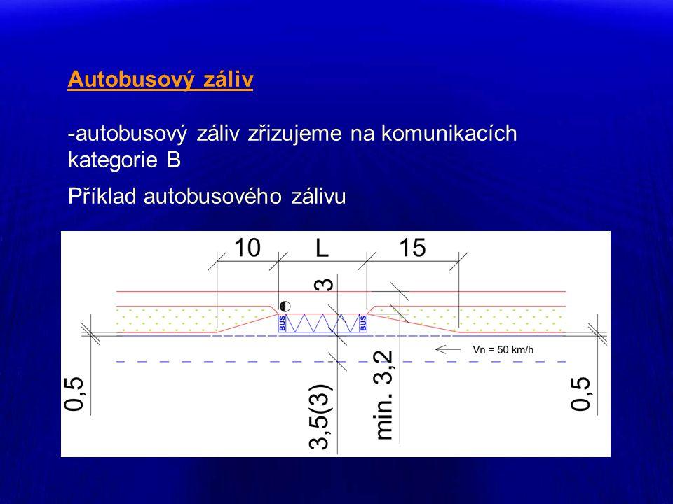Autobusový záliv autobusový záliv zřizujeme na komunikacích kategorie B Příklad autobusového zálivu