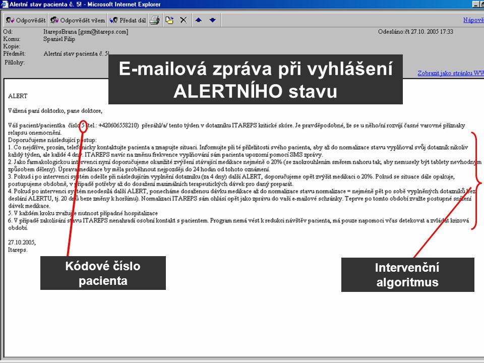 Intervenční algoritmus E-mailová zpráva při vyhlášení ALERTNÍHO stavu