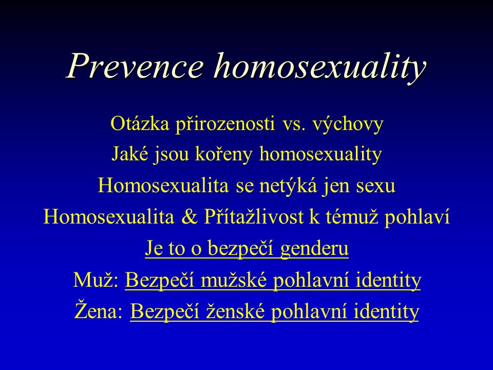 Prevence homosexuality