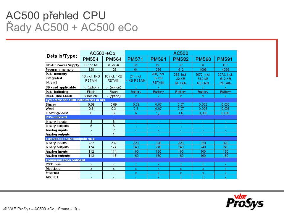 AC500 přehled CPU Řady AC500 + AC500 eCo