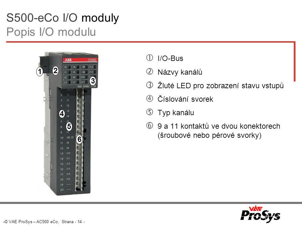 S500-eCo I/O moduly Popis I/O modulu