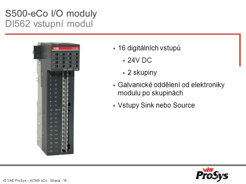S500-eCo I/O moduly DI562 vstupní modul