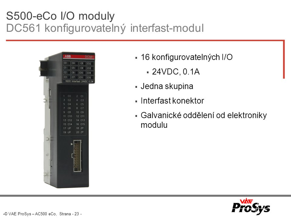 S500-eCo I/O moduly DC561 konfigurovatelný interfast-modul