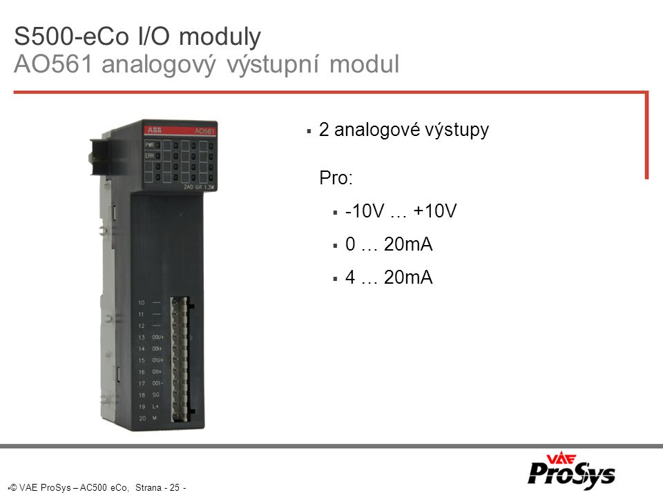 S500-eCo I/O moduly AO561 analogový výstupní modul