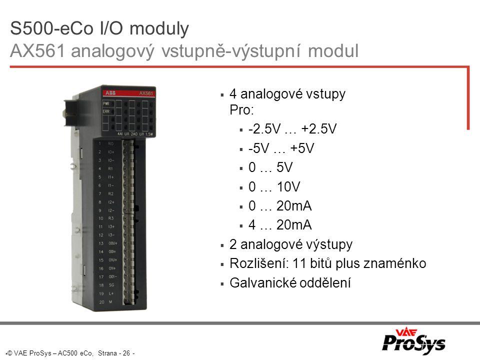 S500-eCo I/O moduly AX561 analogový vstupně-výstupní modul