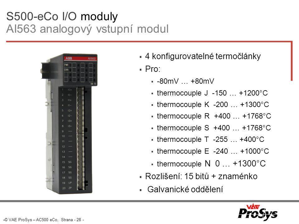 S500-eCo I/O moduly AI563 analogový vstupní modul