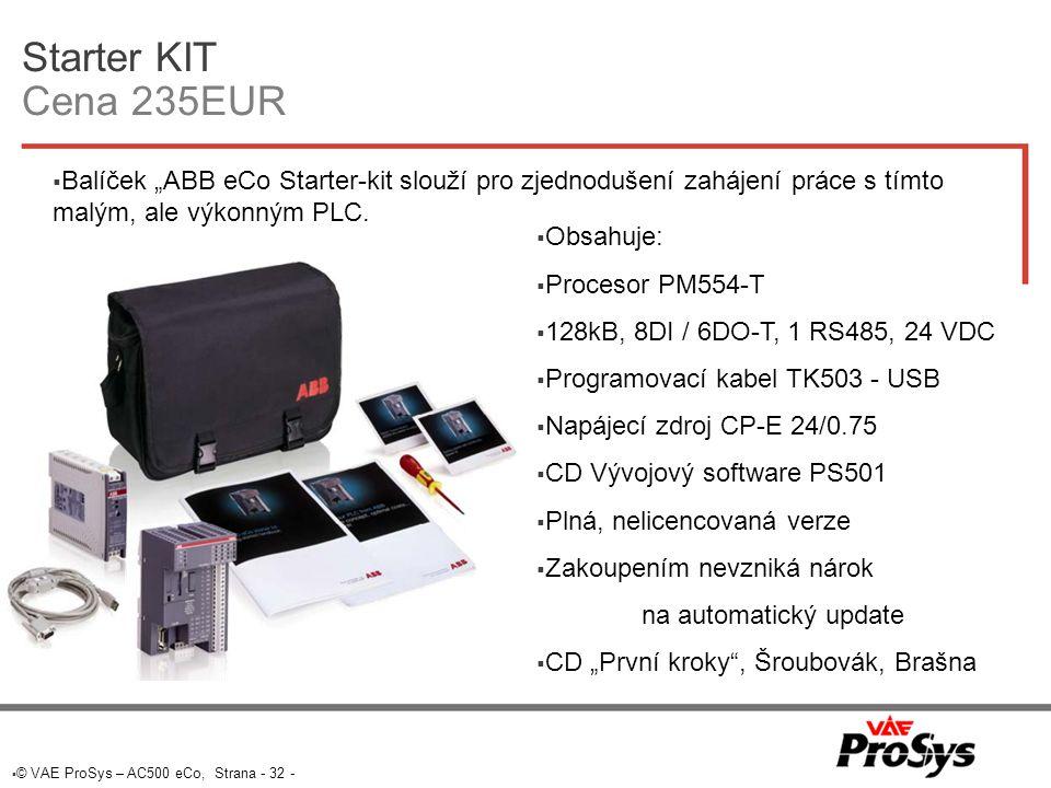 """Starter KIT Cena 235EUR Balíček """"ABB eCo Starter-kit slouží pro zjednodušení zahájení práce s tímto malým, ale výkonným PLC."""