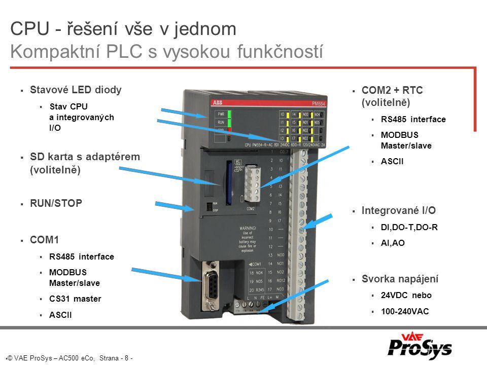 CPU - řešení vše v jednom Kompaktní PLC s vysokou funkčností