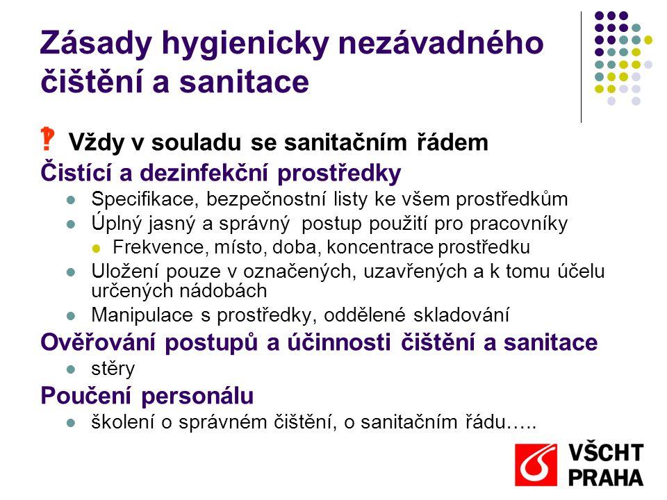 Zásady hygienicky nezávadného čištění a sanitace