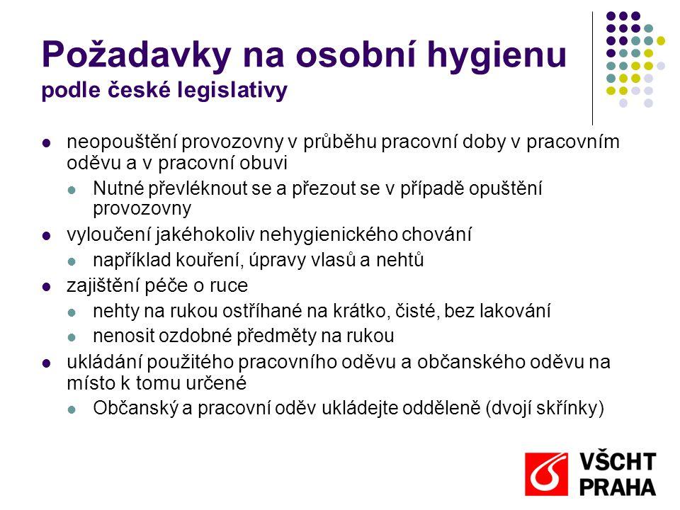Požadavky na osobní hygienu podle české legislativy