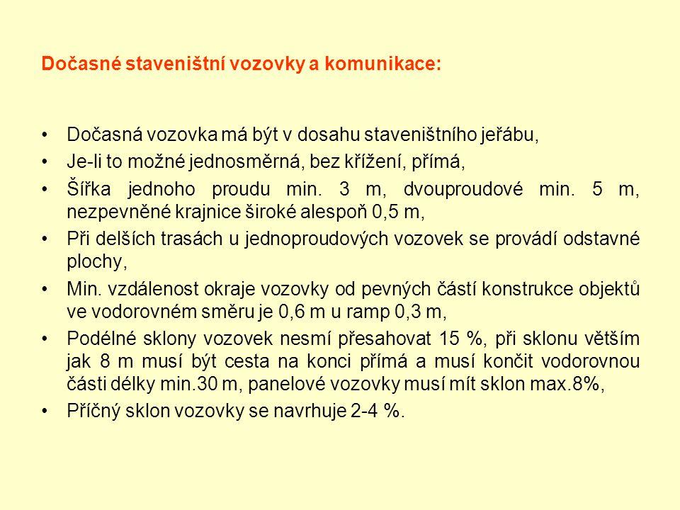 Dočasné staveništní vozovky a komunikace: