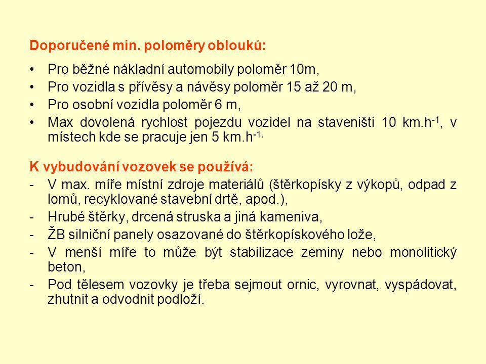 Doporučené min. poloměry oblouků: