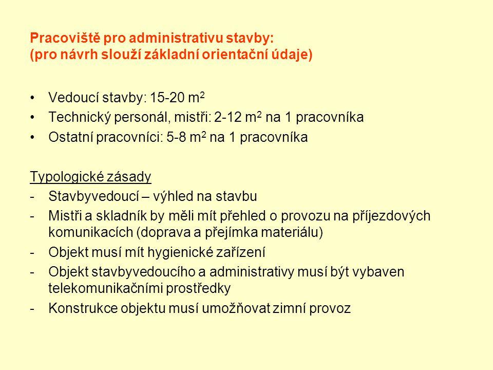 Pracoviště pro administrativu stavby: (pro návrh slouží základní orientační údaje)