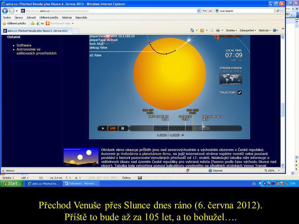 Přechod Venuše přes Slunce dnes ráno (6. června 2012)