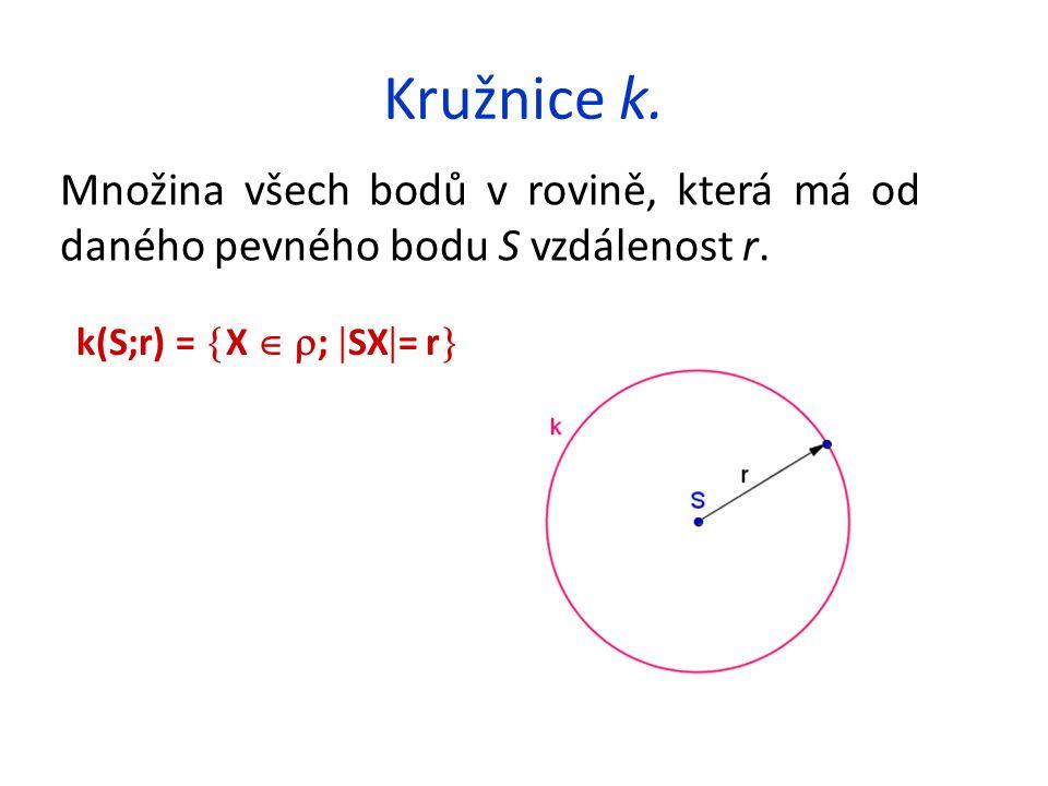 Kružnice k. Množina všech bodů v rovině, která má od daného pevného bodu S vzdálenost r.