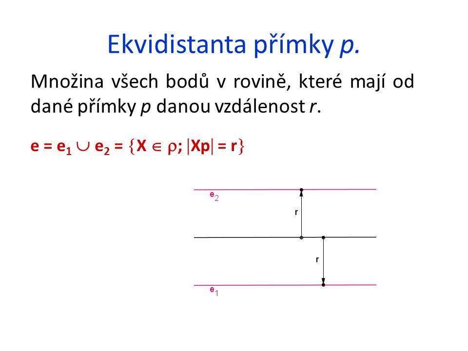 Ekvidistanta přímky p. Množina všech bodů v rovině, které mají od dané přímky p danou vzdálenost r.