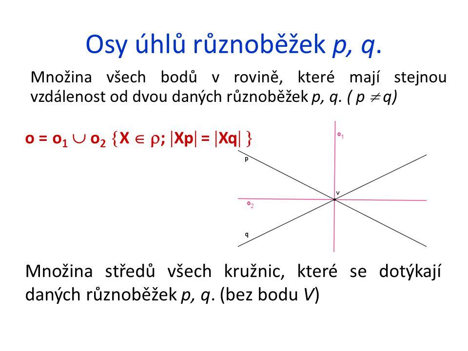 Osy úhlů různoběžek p, q. Množina všech bodů v rovině, které mají stejnou vzdálenost od dvou daných různoběžek p, q. ( p  q)