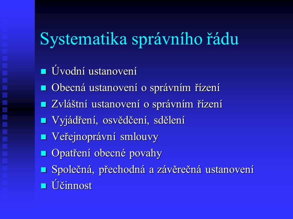 Systematika správního řádu