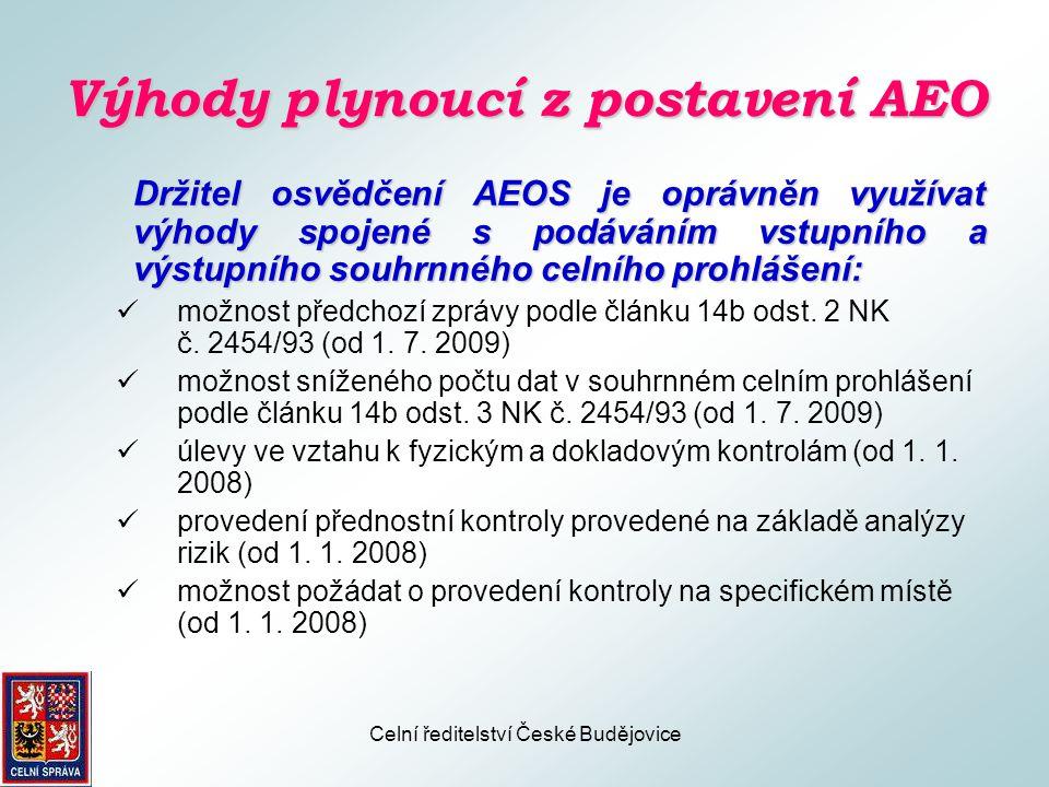Výhody plynoucí z postavení AEO