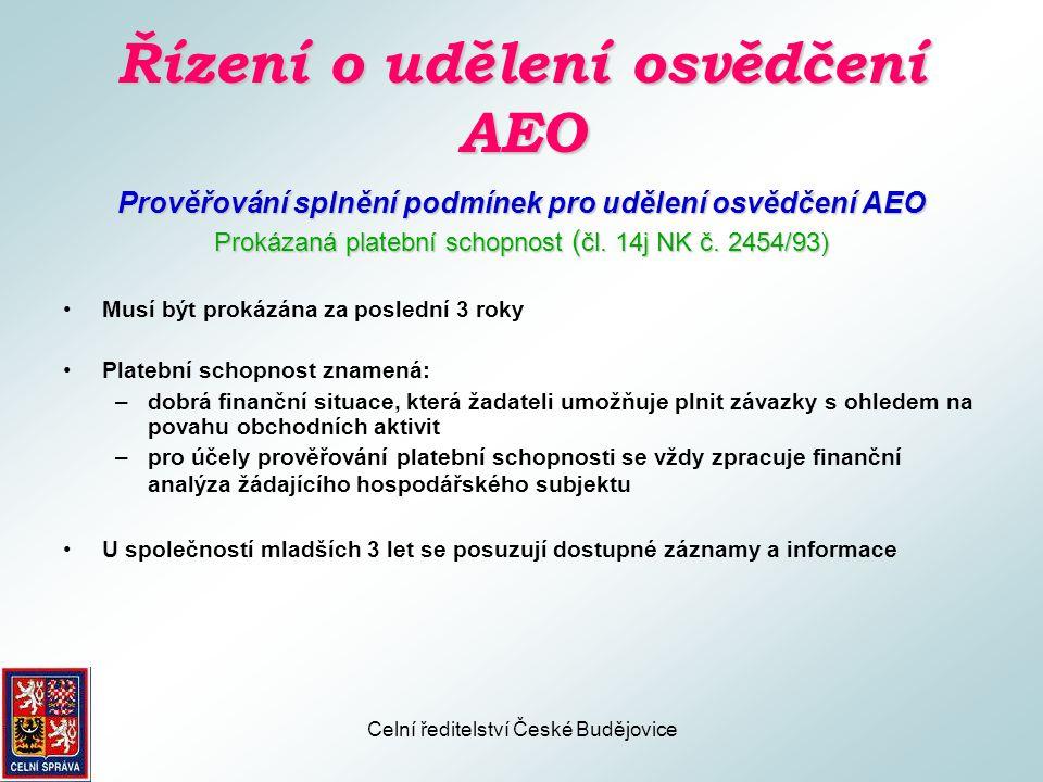 Řízení o udělení osvědčení AEO