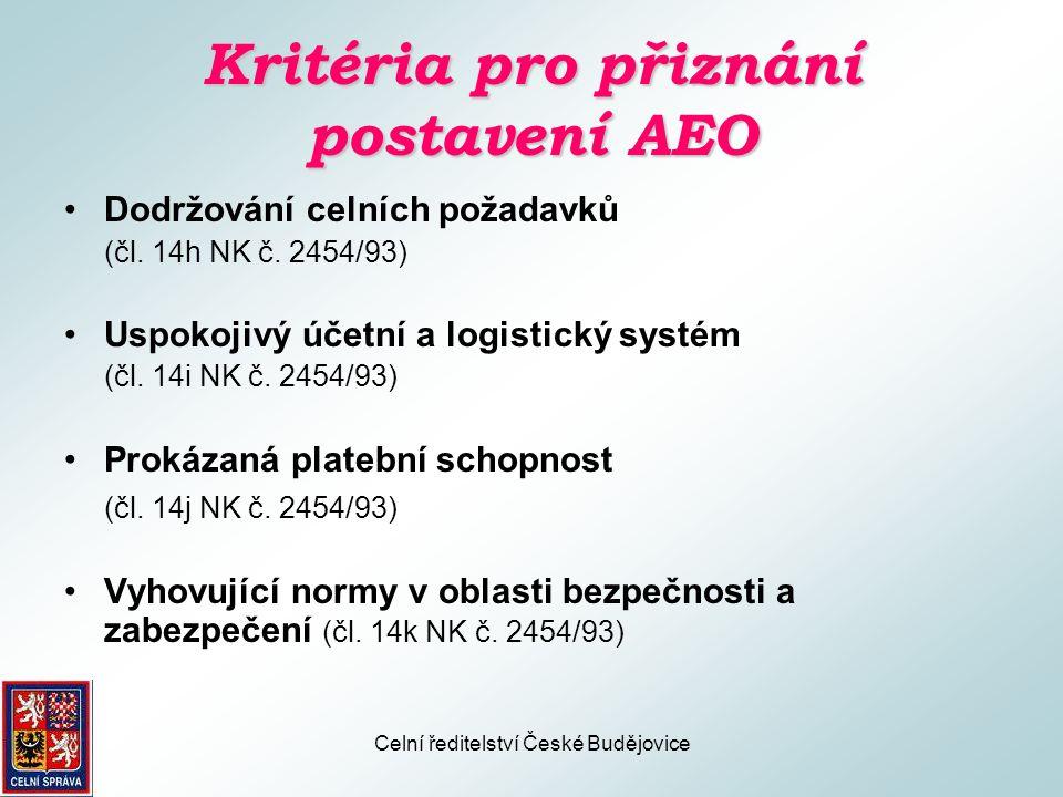 Kritéria pro přiznání postavení AEO