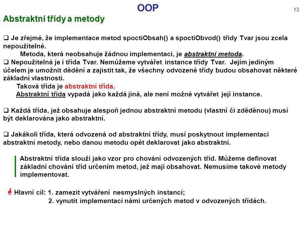 OOP 13 Abstraktní třídy a metody
