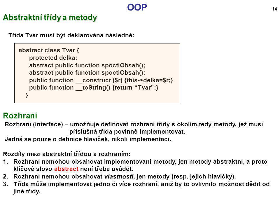 OOP 14 Abstraktní třídy a metody Rozhraní