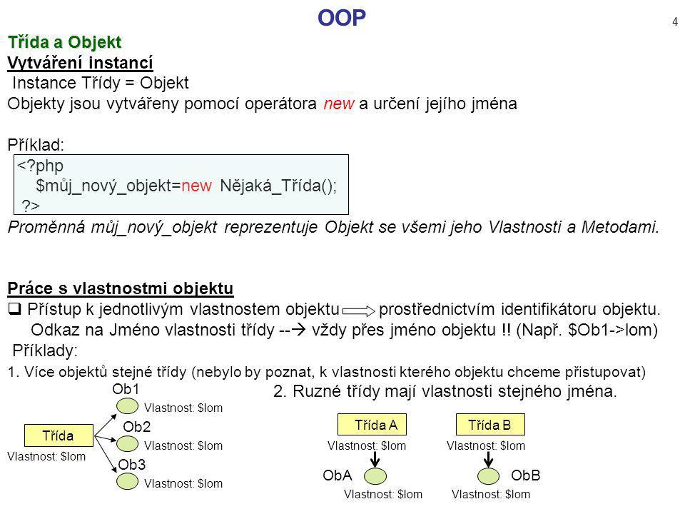 OOP 4 Třída a Objekt Vytváření instancí Instance Třídy = Objekt