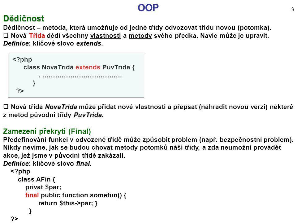OOP 9 Dědičnost Zamezení překrytí (Final)