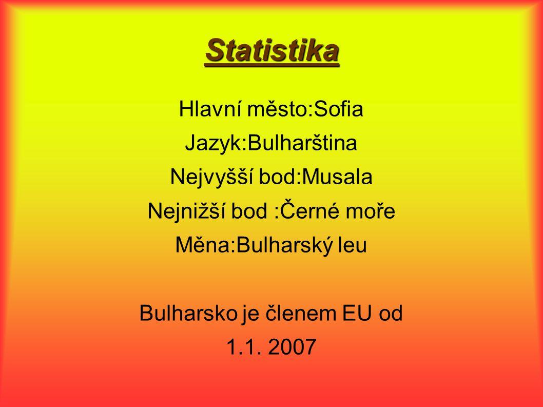 Statistika Hlavní město:Sofia Jazyk:Bulharština Nejvyšší bod:Musala