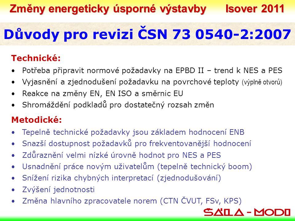 Důvody pro revizi ČSN 73 0540-2:2007