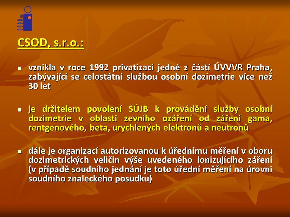 CSOD, s.r.o.: vznikla v roce 1992 privatizací jedné z částí ÚVVVR Praha, zabývající se celostátní službou osobní dozimetrie více než 30 let.