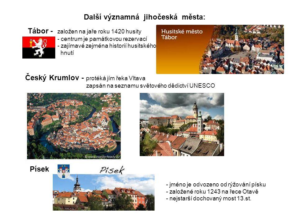 Další významná jihočeská města: