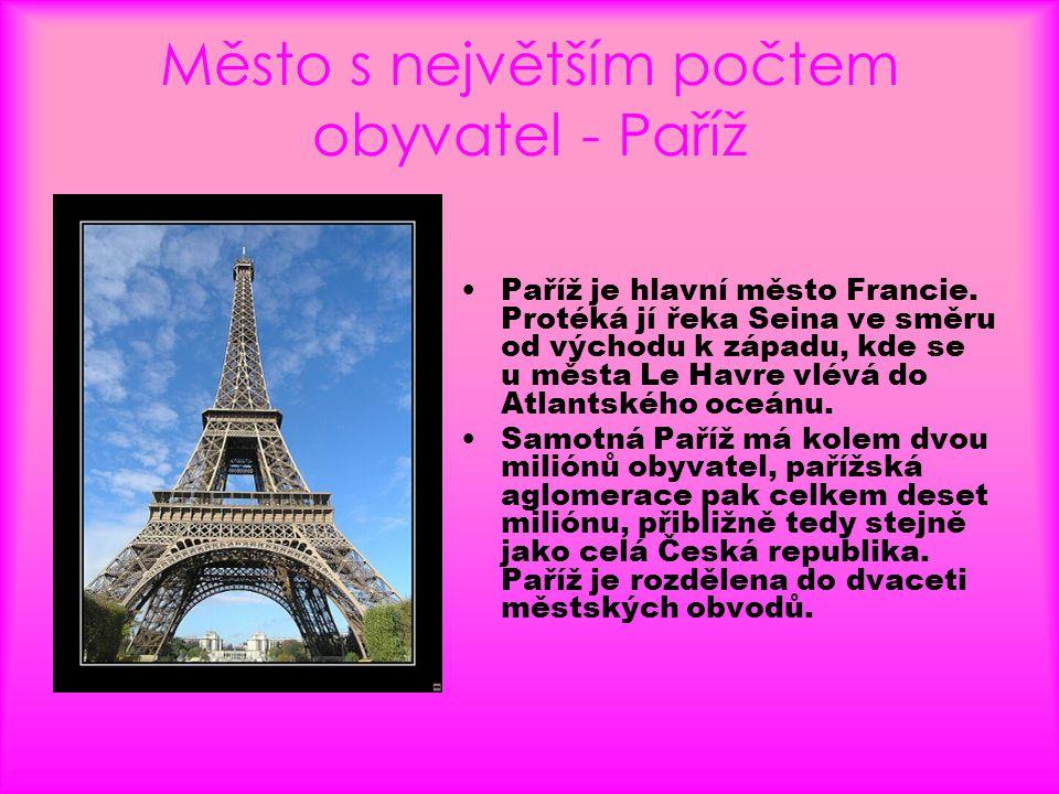 Město s největším počtem obyvatel - Paříž
