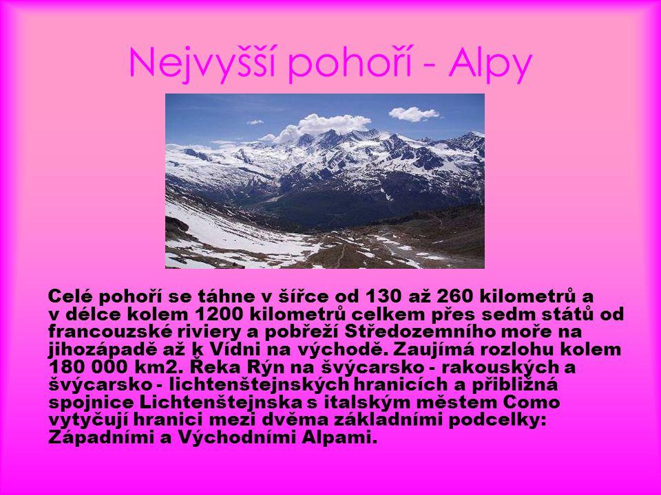 Nejvyšší pohoří - Alpy